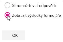 Výběr ve webové části Microsoft Forms pro zobrazení výsledků formuláře
