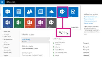 V Office 365 vyberte Weby.