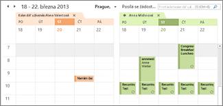 importovaný kalendář Google zobrazený vedle kalendáre Outlooku