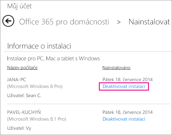 Snímek obrazovky stránky instalace s vybraným odkazem Deaktivovat instalaci