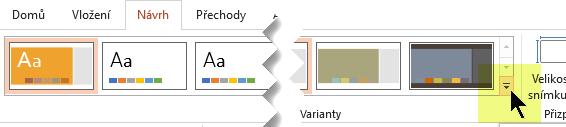 Po výběru tlačítka se šipkou dolů se otevře galerie barevných variant.