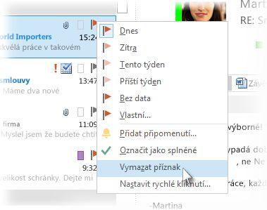 Příkaz Vymazat příznak v nabídce zobrazené po kliknutí pravým tlačítkem myši v seznamu zpráv