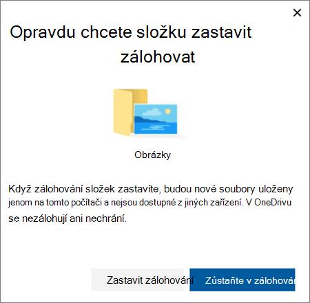 Snímek obrazovky při ukončení ochrany složek na OneDrivu