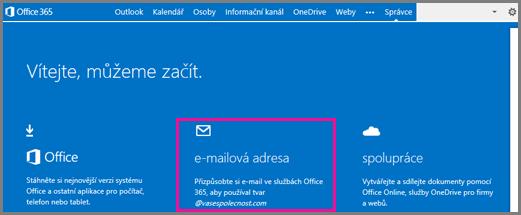 Uvítací stránka zobrazující dlaždici s e-mailovou adresou