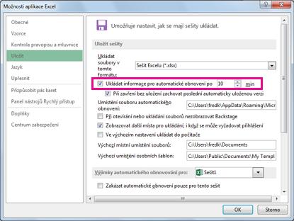 Možnost pro automatické obnovení na kartě Uložit v dialogu Možnosti aplikace Excel