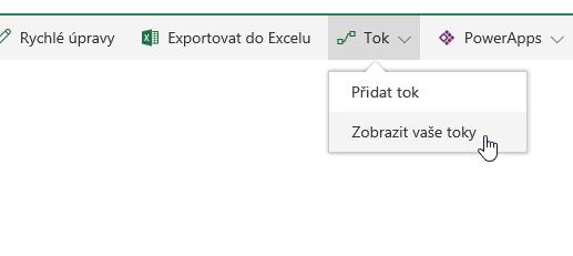 Obrázek nabídky toku rozevíracího seznamu.