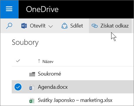 Snímek obrazovky se sdílením souboru pomocí tlačítka Získat odkaz na OneDrivu pro firmy