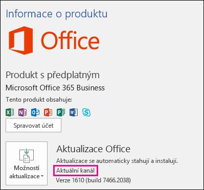 Informace o účtu produktu pro předplatné Office 365 Business – Current Channel