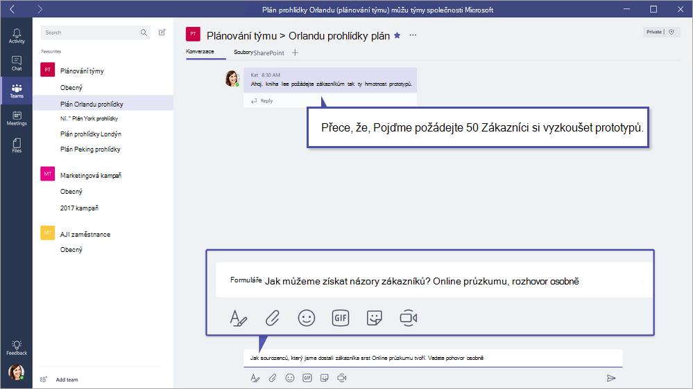 Microsoft Forms QuickPoll v týmy společnosti Microsoft