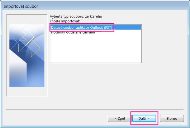 Zvolte Datový soubor aplikace Outlook (.pst).