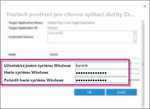 Snímek obrazovky s dialogem Pole přihlašovacích údajů, který se používá při vytváření cílové aplikace Zabezpečeného úložiště přihlašovacích údajů. Ukazuje výchozí hodnoty – Uživatelské jméno systému Windows a Heslo systému Windows.
