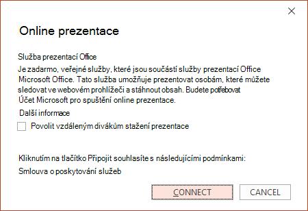 Zobrazí v PowerPointu možnost Soubor > Sdílet > Prezentovat online.