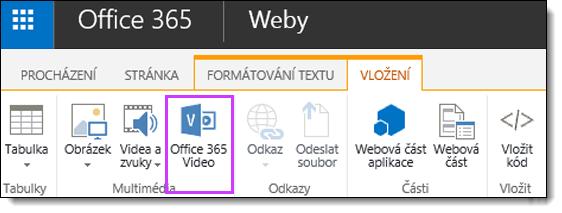Vložení videa Office 365 Video