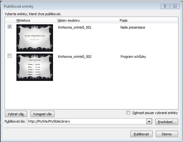 Dialogové okno Publikovat snímky