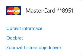 Stránka s možnostmi platby, na které jsou odkazy pro úpravu informací, odebrání a zobrazení historie objednávek pro platební kartu