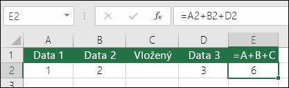 Když přidáte řádky, vzorce =A+B+C se neaktualizují.