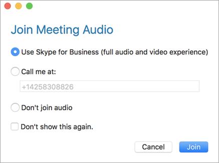 Příklad dialogové okno Připojit se ke zvukovému přenosu schůzky