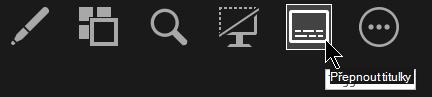 Tlačítko zapnout/vypnout titulky v Zobrazení prezentujícího