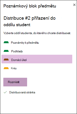 Distribuce stránku možnosti studentů