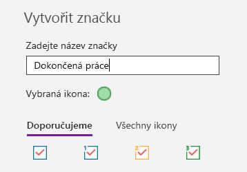 Vytváření vlastních značek ve OneNotu pro Windows 10