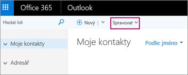 Obrázek toho, jak vypadá stránka Lidé v Outlooku na webu