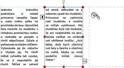 Snímek obrazovky s textovým polem a přetékajícím textem, který je připravený přetéct do dalšího textového pole.