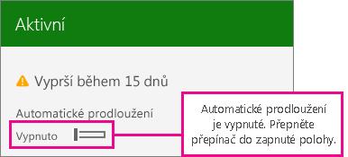Snímek obrazovky předplatného zobrazující přepínač automatického obnovení