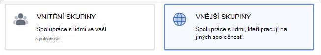 Snímek obrazovky, který znázorňuje, že můžete vytvořit interní nebo externí skupinu