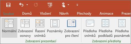 Nabídka Zobrazení v PowerPointu