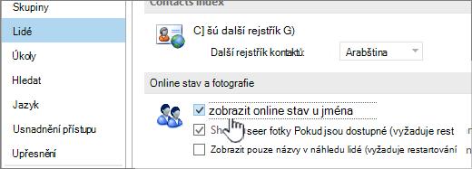 Karty osoby v dialogovém okně Možnosti online stavem zobrazení zvýrazněným