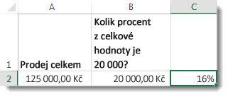 125 000 Kč v buňce A2, 20 000 Kč v buňce B2 a 16 % v buňce C2