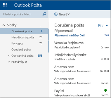 Primární obrazovka služby Outlook.com nebo Hotmail.com