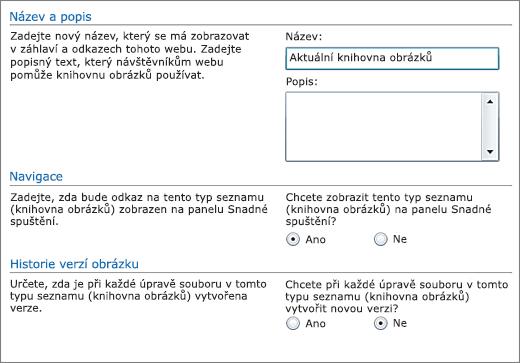Dialogové okno pro přidání názvu, diagramu, navigace na panelu Snadné spuštění a správy verzí.