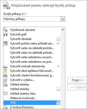 V seznamu příkazů zvolte XML a klikněte na Přidat.