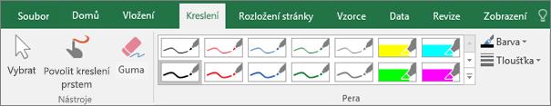 Zobrazuje kartu Kreslení v Excelu 2016.