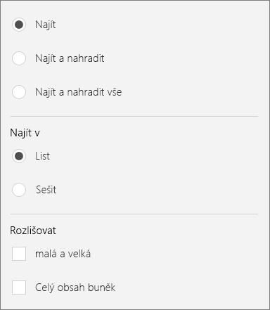 Zobrazuje že další možnosti pro hledání v Excelu Mobile.