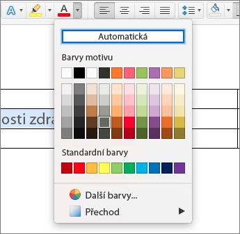 Snímek obrazovky s automatickým nastavením barvy písem