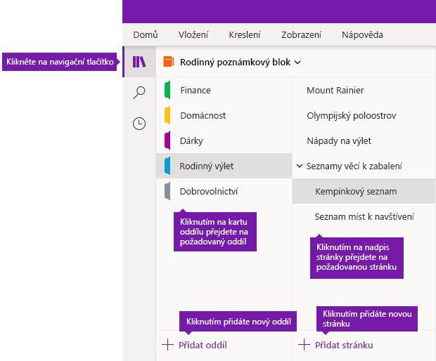 Oddíly a stránky ve OneNotu pro Windows 10