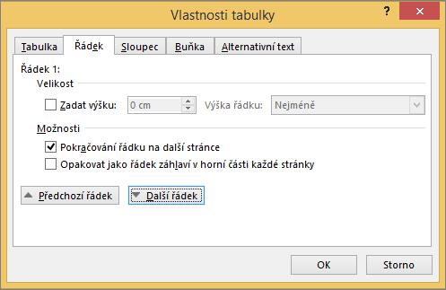 Karta řádek v dialogovém okně Vlastnosti tabulky