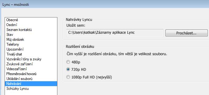 Snímek obrazovky umístění a rozlišení nahrávek
