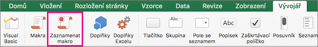 V Excelu pro Mac záznam makra