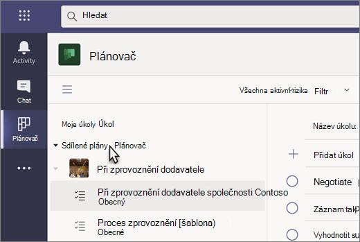 Snímek obrazovky s aplikací Úkoly v Teams, která se aktuálně jmenuje Planner