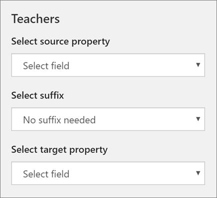 Snímek obrazovky s tři nastavení synchronizace učitelům ve škole Data Sync, včetně vlastnost zdroj, přípony a vlastnost target.