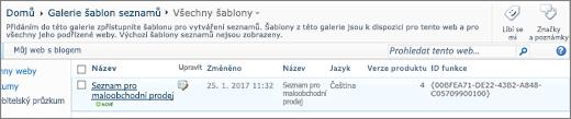 Stránka Galerie seznamu pomocí šablony seznamů