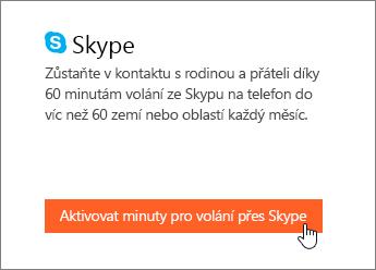 Snímek obrazovky ukazující, kde se dají aktivovat minuty volání přes Skype