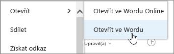 Výběr aplikace pro otevření souboru s vybraným Wordem