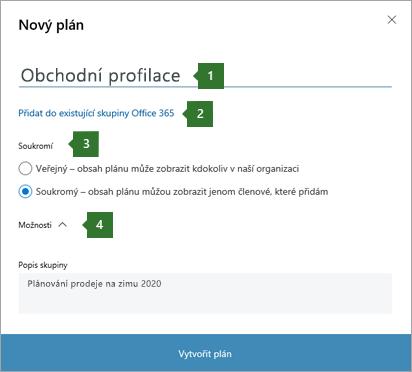 """Snímek obrazovky s dialogovým oknem Planner nový plán, který zobrazuje popisky pro 1 zadaný název """"obchodní kanál"""", 2 možnost přidat do existující skupiny Office 365 """", 3 možnosti ochrany osobních údajů a 4 možnosti."""