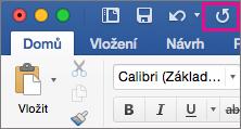 Na pásu karet je zvýrazněná ikona opakovat.