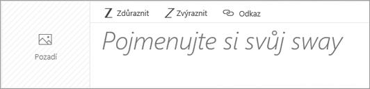 Snímek obrazovky s polem pro zadání názvu swaye.