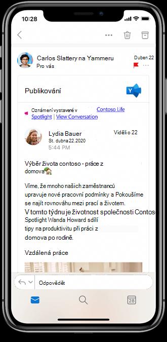 Práce s Yammeru z mobilních aplikací Outlooku
